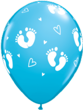 Baby Footprints Boy (Blue) - 11 Inch Balloons 25pcs